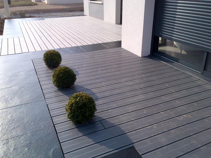 terrasse bois composite et pierre with idee de terrasse en composite