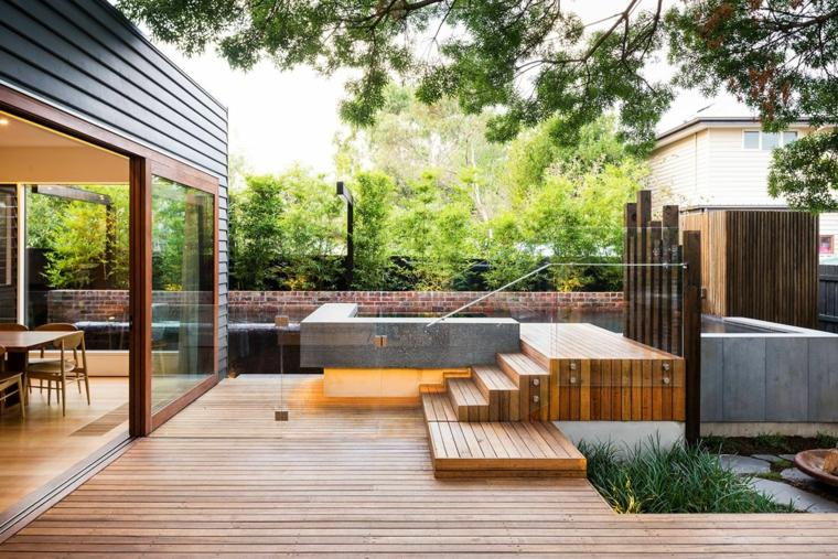 Terrasse jardin moderne paysagiste jardin moderne | Maisondours